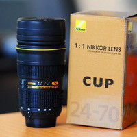 Nikon Camera Lens mug Coffee Cup Mug Thermos AF-S 1:1 24-70mm F/2.8 with case
