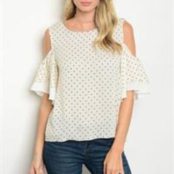 Ivory Black Polka Dots Blouse