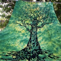 Handmade Tie Dyed Celtic Green Wall Tapestry Tree Of Life