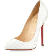 Christian Louboutin Pigalle Python Point-Toe Red Sole Pump, White