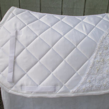 English All-Purpose BRIDAL Saddle Pad:  White Saddle Pad with Lace Appliques and Pearls