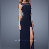 High Neck Floor Length With High Slit La Femme Prom Dress 21069