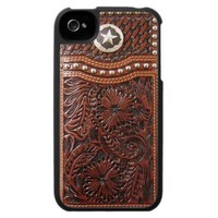 Vintage Western Brown and Silver Photo Print iPhone 4 Cover from Zazzle.com