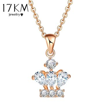 17KM -  Crown Necklace New Cubic Zirconia Crystal Pendant