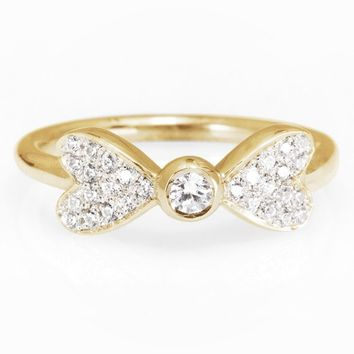 Hearts Diamond Ring, Unique Diamond Engagement Ring, Stackable Rings, Gold & Diamond Rings, Cluster Diamond Ring, Right Hand Ring, Bow Heart