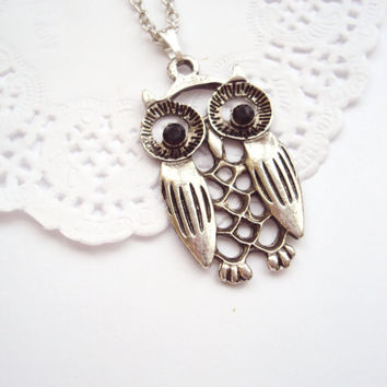 FREE SHIPPING! Silver Owl Necklace with Black Crystal Eyes - Casual Style - Harry Potter Owl - Gift for Her