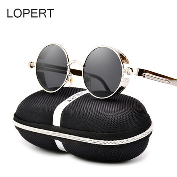 LOPERT Vintage HD Polarized Steampunk Sunglasses Men Brand Designer Glasses Women  Gothic Coating Mirrored Sun Glasses UV400