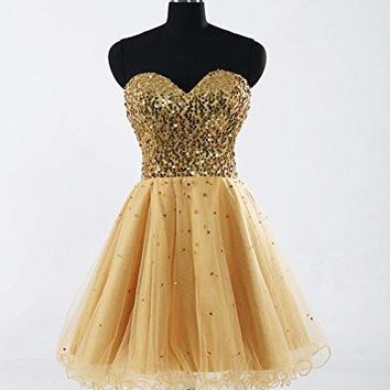 Short Celebrity Party Dress Homecoming Gowns For Girls Gold Cocktail Dress Bandage A Line Sequins Sweetheart Robe De