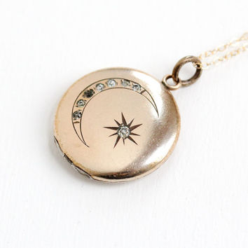 Antique Star & Moon Rhinestone Locket- Victorian Edwardian Early 1900s Round Gold Filled Pendant Jewelry