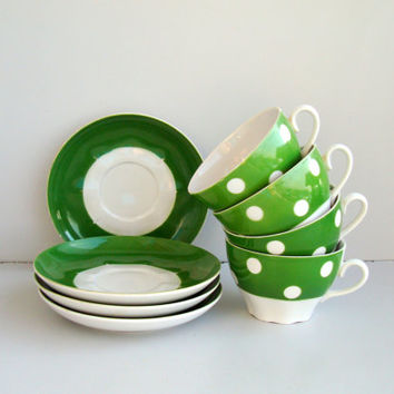 Vintage green white polka dot Tea cups and saucers,Soviet Tea set, USSR rusian coffee set 1970s