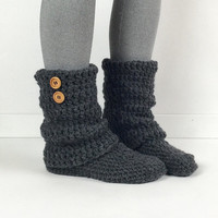 Women's Crochet Dark Gray Slouchy Slipper Boots, Knitted Ladies Slippers, Leg Warmer Booties, Warm Winter Slipper Shoes, Heather Grey Boots
