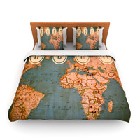 "Ann Barnes ""Roam II"" World Map Queen Fleece Duvet Cover - Outlet Item"