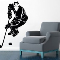 Sportsman Hockey Player Sport People Wall Decals Vinyl Decal Sticker Ice Skating Boy Room Bedroom Living Room Decor Home Interior Design Art Murals