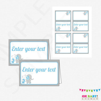 Blue and Gray Elephant Baby Shower, Editable Food Labels, Tent Cards, Place Cards, Instant Download Printable, Customized Food Labels ELLBG