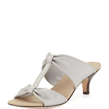 Randi Double-T Stretch Sandal, Silver
