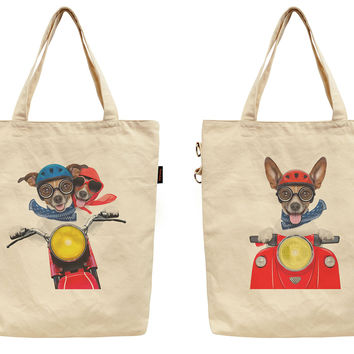 Women Dogs & Motorbike Printed Canvas Tote Shoulder Bag WAS_40