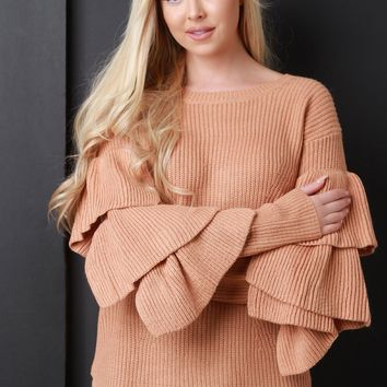 Chunky Knit Ruffle Sleeve Sweater Top
