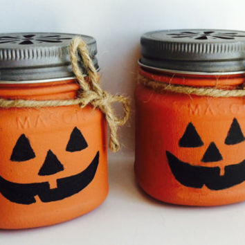 Painted mason jar, highly scented candle, soy candle, Fall decor, pumpkin candle, jack-o-lantern candle, jar candle, Halloween candle