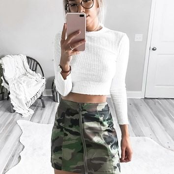 Camo Zip-Front Mini Skirt