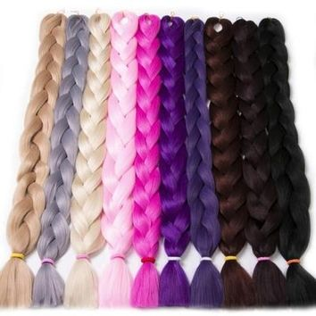 Braiding Hair one piece 82 inch Synthetic High Temperature Fiber 165g VERVES pure color Braid Hair Extensions free shipping