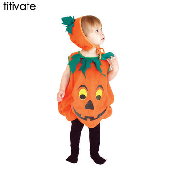 Children's Halloween Costumes Pumpkin Skirt Stage Outfit Clothes for Kids Cosplay Costume Fancy Party Game Cloak Uniforms Set