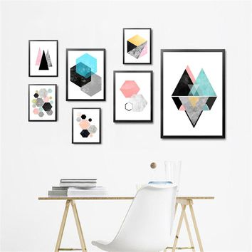 Modern minimalist abstract Geometric image canvas poster prints living room wall decorative paintings home decor no frame DH2096