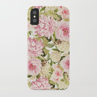 vintage peonies and hydrangeas iPhone Case by sylviacookphotography