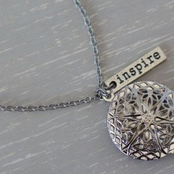 """Inspire Silver Plated Diffuser Necklace 24"""" • Aromatherapy Diffuser Jewelry"""
