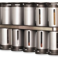 Zevro KCH-06100 Zero Gravity Magnetic Spice Rack with 12 Canisters