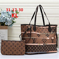 LV tide brand female classic old flower color matching large-capacity handbag shopping bag mother bag two-piece brown