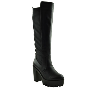 Womens Knee High Boots Chunky High Heel Platform Lug Shoes Black