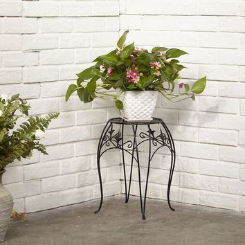 Amagabeli 15 x 13 inch Rustproof Black Metal Plant Stand Decorative Flower Pot Stand with Curved Legs Potted Flower Holder Trivet Iron Plant Stand Flower Pot Holders