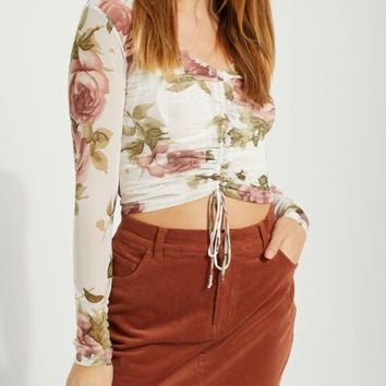 White Floral Ruched Mesh Top