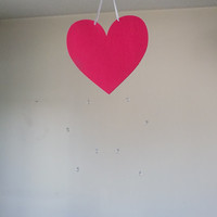 Felt Heart mobile with crystals! Baby Nursery mobile, Crib mobile, Wedding, Happy Birthday, Gift. All occasion mobile.