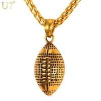 U7 Men Necklace Fashion Jewelry Sport Gold Color Stainless Steel Workout American Football Fitness Chain & Pendant Ball P917