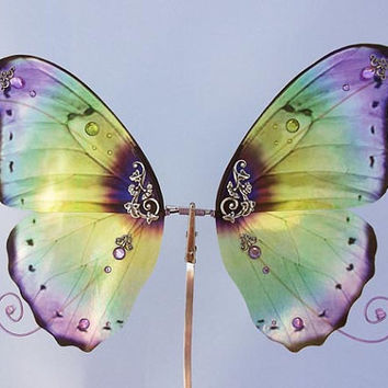 1/6 OOAK Butterfly wings for Dolls -Morpho - Purple Green Iridescent