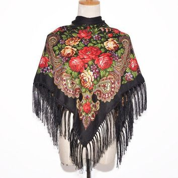 2016 New Fashion Women Square Winter Wrap Scarf Luxury Brand Lady Tassel Bandana Shawl Floral Designer Poncho Hot Sale Headband