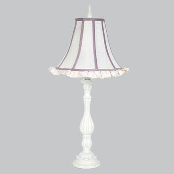 Jubilee Collection 873202-4903 Lotus White One Light Table Lamp with Lavender Trimed Ruffled Shade