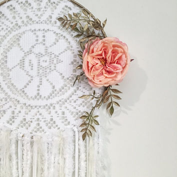 White dream catcher, Large dream catcher, Doily dreamcatcher, Nursery decor, Boho decor, Baby shower gift,  Boho wedding, Peach flower