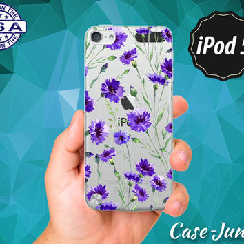 Vintage Floral Wallpaper Pattern Purple Flower Tumblr Cute Rubber Transparent Clear Case For iPod Touch 5th Generation or iPod Touch 6th Gen