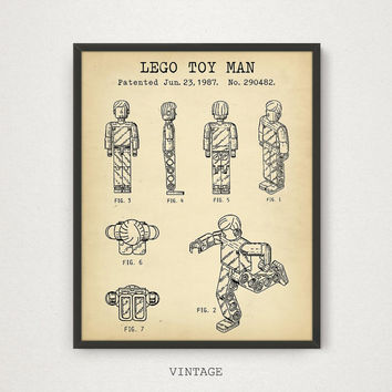 LEGO Printable Blueprint, Lego Toy Man Patent Poster, Kids Room Wall Art, Lego Print, Nursery Decor, Lego Toy Figure, Vintage, Chalkboard