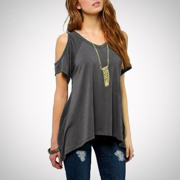 Women's Loose Short Sleeve Sexy V Neck Off Shoulder Blouse