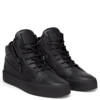 Giuseppe Zanotti Gz Kriss These Mid-top Sneakers Are Made In Italy Using Fine Calf Leather - The Expertise And Craftsmanship Stands Out In This All-black Design - Best Deal Online