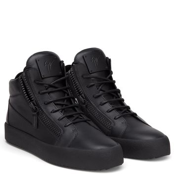 Giuseppe Zanotti Gz Kriss These Mid-top Sneakers Are Made In Italy Using Fine Calf Leather - The Expertise And Craftsmanship Stands Out In This All-black Design