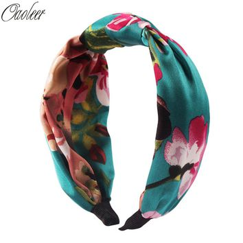 Summer Style Print Silk Cross Headband For Women Lady Bohemian Party Retro Floral Elastic Turban Bow Hairband Hair Accessories