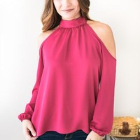 Sound of Satin Raspberry Cold Shoulder Top