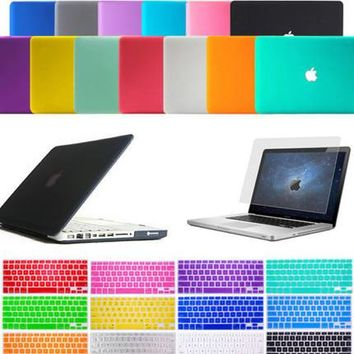 Satin Hard Case Rubberized keyboard Cover For Macbook Pro13 15 Air 11 White 13   inchs notebook sleeve case  laptop case