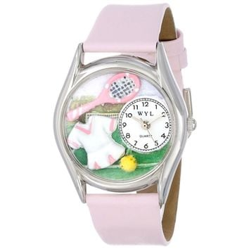 SheilaShrubs.com: Women's Tennis Female Pink Leather Watch S-0810015 by Whimsical Watches: Watches