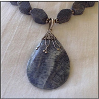 Blue Coral Necklace with Blue Coral Pendant