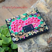 Embroidered iPad Case - Flower Applique iPad Flip Case - Floral iPad 4 Case - iPad 3 Case with Stand - Floral iPad 2 Case Cover Stand Women